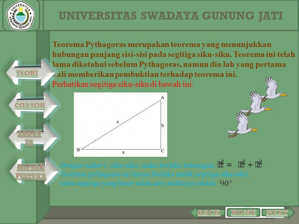 Teorema Pythagoras merupakan teorema yang menunjukkan hubungan panjang sisi-sisi pada segitiga siku-siku. Teorema ini telah lama diketahui sebelum Pyt