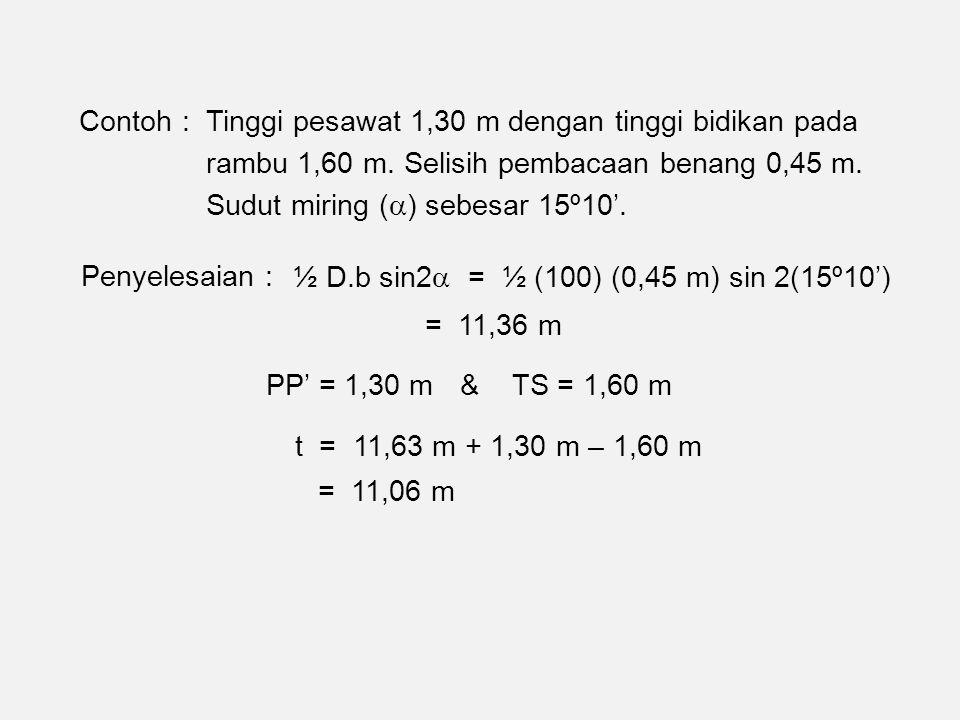 Contoh : Tinggi pesawat 1,30 m dengan tinggi bidikan pada rambu 1,60 m.