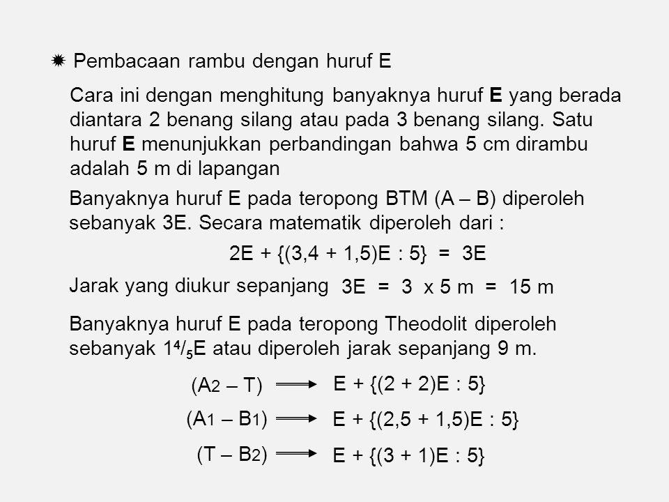  Pembacaan rambu dengan huruf E Cara ini dengan menghitung banyaknya huruf E yang berada diantara 2 benang silang atau pada 3 benang silang.