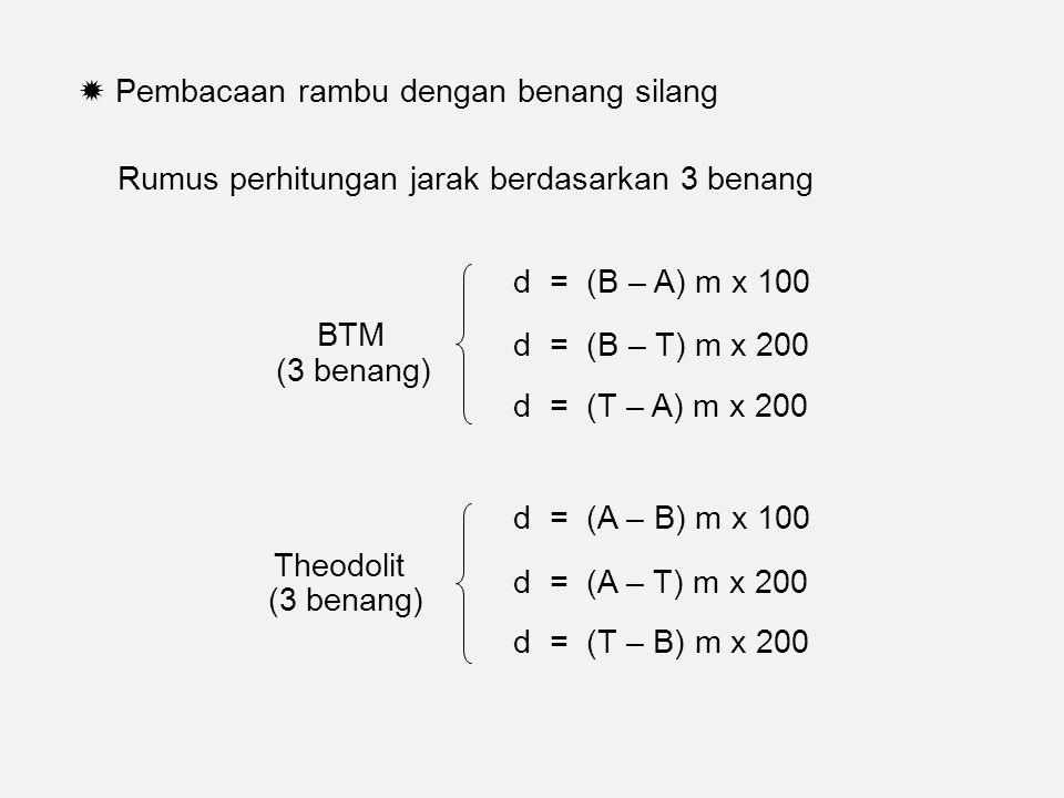  Pembacaan rambu dengan benang silang Rumus perhitungan jarak berdasarkan 3 benang d = (B – A) m x 100 d = (B – T) m x 200 d = (T – A) m x 200 BTM (3 benang) Theodolit d = (A – B) m x 100 d = (A – T) m x 200 d = (T – B) m x 200 (3 benang)
