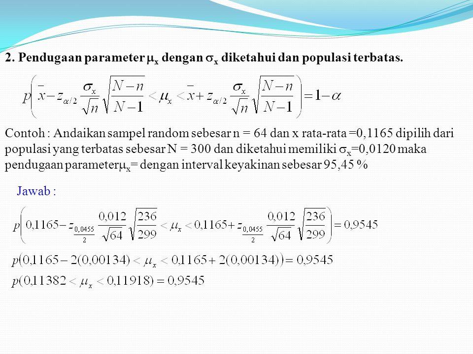 2. Pendugaan parameter  x dengan  x diketahui dan populasi terbatas. Contoh : Andaikan sampel random sebesar n = 64 dan x rata-rata =0,1165 dipilih
