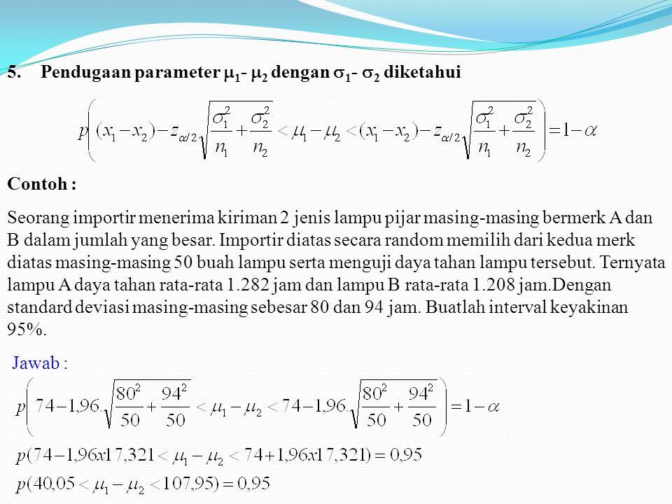 5.Pendugaan parameter  1 -  2 dengan  1 -  2 diketahui Contoh : Seorang importir menerima kiriman 2 jenis lampu pijar masing-masing bermerk A dan