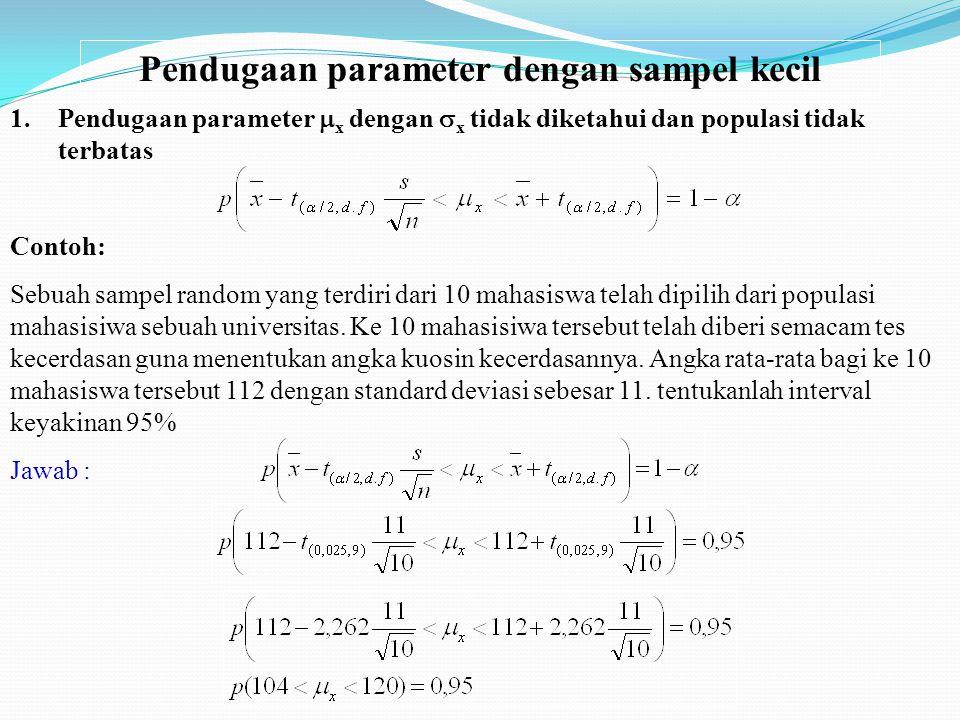 Pendugaan parameter dengan sampel kecil 1.Pendugaan parameter  x dengan  x tidak diketahui dan populasi tidak terbatas Contoh: Sebuah sampel random