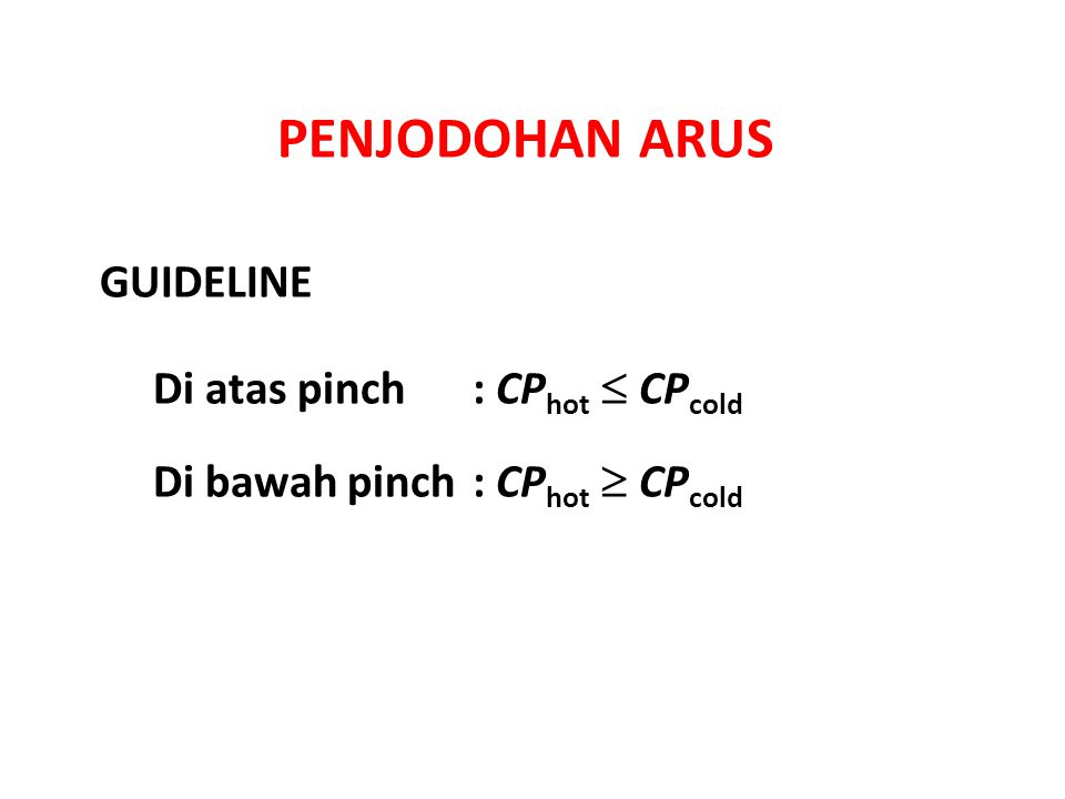 PENJODOHAN ARUS Di atas pinch: CP hot  CP cold Di bawah pinch: CP hot  CP cold GUIDELINE