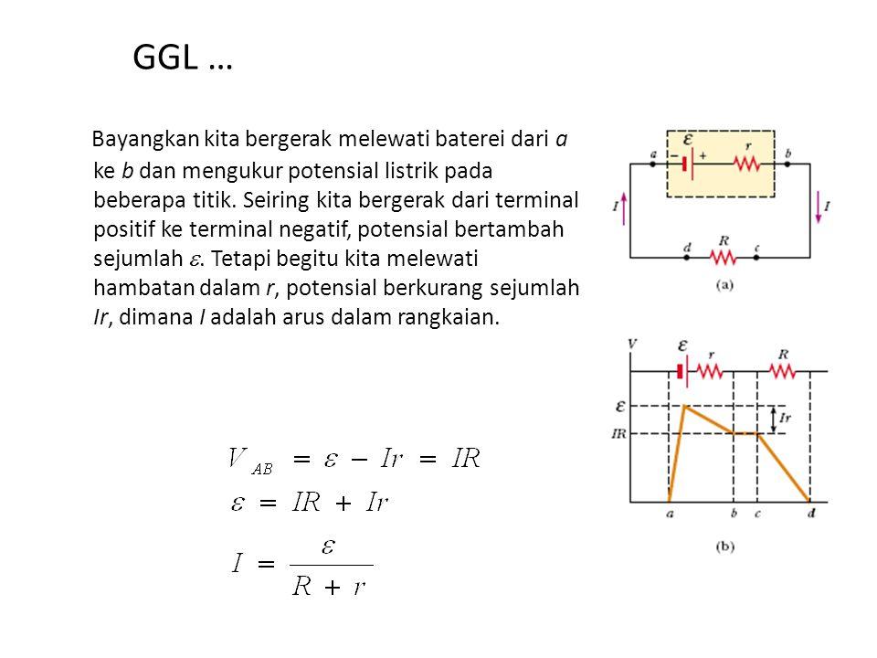 Gaya Gerak Listrik (GGL) Tinjau suatu rangkaian tertutup Sumber GGL mempunyai hambatan dalam r, sehingga beda potensial/tegangan antara kutub A dan B dapat dituliskan sebagai: Oleh karenanya untuk muatan-muatan melingkari rangkaian.
