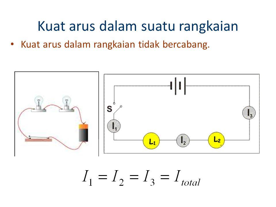 RANGKAIAN LISTRIK Pada potongan rangkaian AD, arus mengalir dari A menuju D, jadi VAD >0 Arus I mengambil daya dari baterei ε 1, memberi daya dari baterei ε 2 dan R V AD = V AB + V BC + V CD V AD = - ε 1 + ε 2 +IR V AD = IR – ( ε 1 - ε 2 ) V AD =  IR -  ε E positif jika arah hitungan dari – ke +