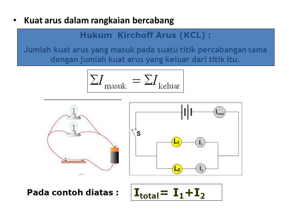 Hukum I: Kekekalan muatan Pada dasarnya, arus adalah aliran muatan.