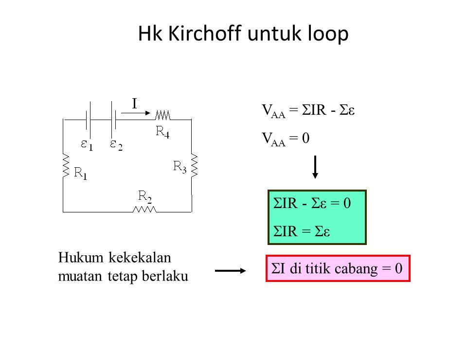 Hukum Kirchoff: Kekekalan Energi Pada baterai, tegangan di kutub positif selalu lebih tinggi dari tegangan di kutub negatif.