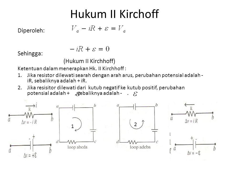 Hukum Kirchhoff Tegangan (KVL) Hukum Kirchhoff : Jumlah aljabar dari perubahan potensial yang dilalui dalam suatu rangkaian tertutup adalah nol.