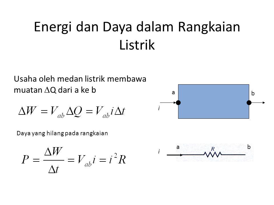 Energi dan Daya dalam Rangkaian Listrik i a b ab i Usaha oleh medan listrik membawa muatan  Q dari a ke b Daya yang hilang pada rangkaian