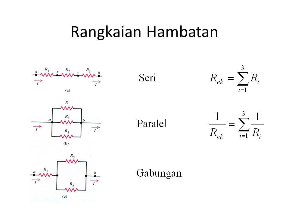a b c i ,r R Daya yang masuk pada rangkaian Secara umum  j bertanda + jika arah  j sejalan dengan ac i j bertanda + jika arah  j sejalan dengan ac Potensial Drop Pada Rangkaian
