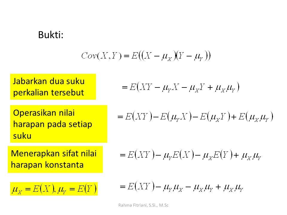 Rahma Fitriani, S.Si., M.Sc Dengan penyederhanaan Dari definisi μ X dan μ y