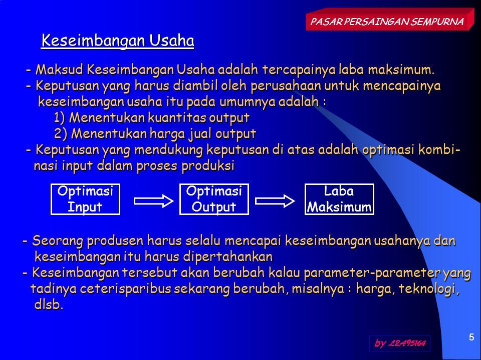 5 Keseimbangan Usaha PASAR PERSAINGAN SEMPURNA by L2A95164 - Maksud Keseimbangan Usaha adalah tercapainya laba maksimum. - Keputusan yang harus diambi