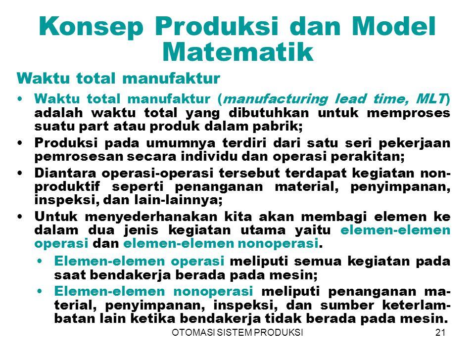 OTOMASI SISTEM PRODUKSI21 Konsep Produksi dan Model Matematik Waktu total manufaktur (manufacturing lead time, MLT) adalah waktu total yang dibutuhkan