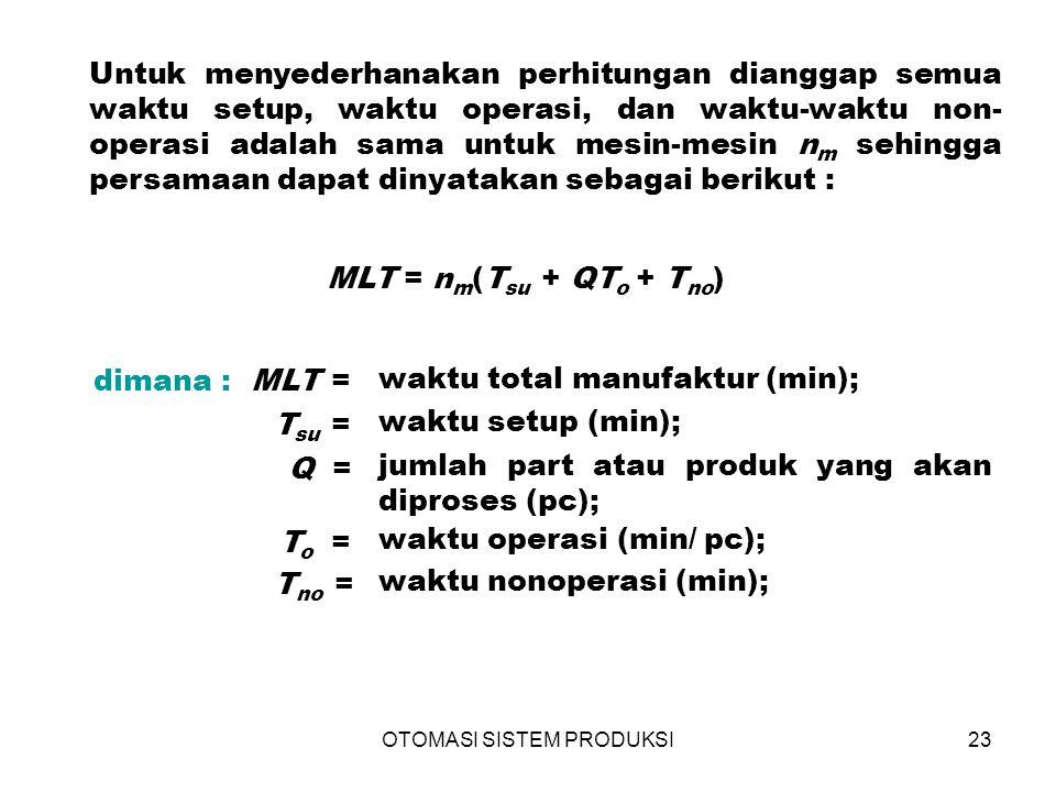 OTOMASI SISTEM PRODUKSI23 Untuk menyederhanakan perhitungan dianggap semua waktu setup, waktu operasi, dan waktu-waktu non- operasi adalah sama untuk