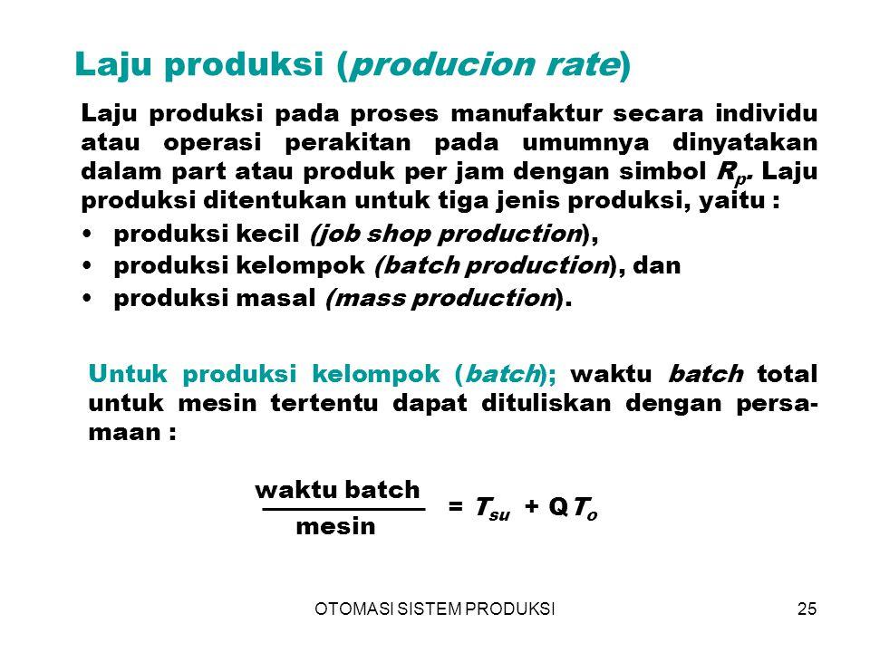 OTOMASI SISTEM PRODUKSI25 Laju produksi (producion rate)  Laju produksi pada proses manufaktur secara individu atau operasi perakitan pada umumnya di