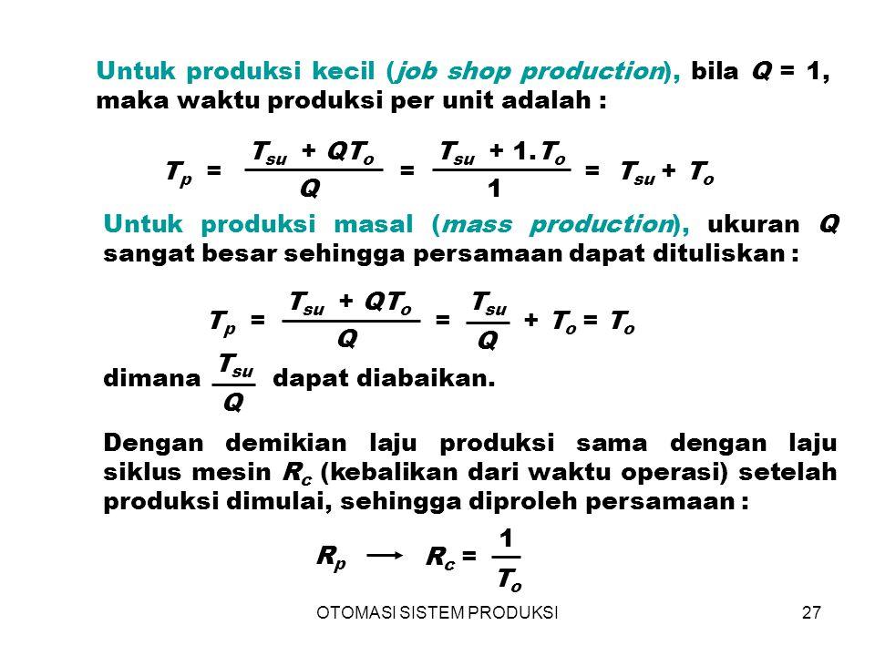 OTOMASI SISTEM PRODUKSI27 Untuk produksi kecil (job shop production), bila Q = 1, maka waktu produksi per unit adalah : Dengan demikian laju produksi