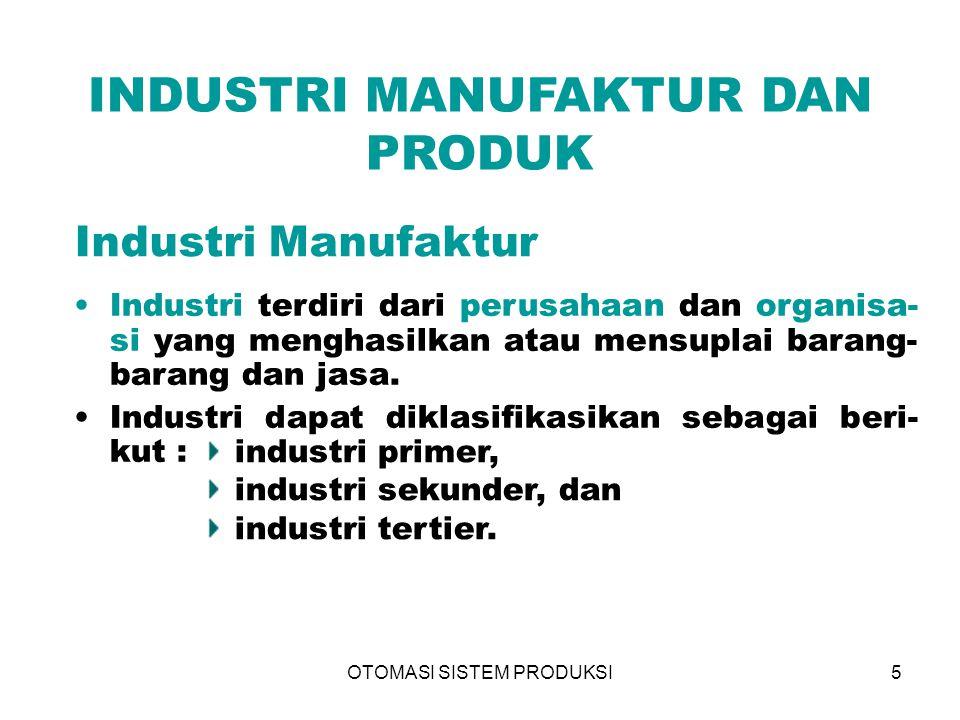 OTOMASI SISTEM PRODUKSI5 INDUSTRI MANUFAKTUR DAN PRODUK Industri Manufaktur Industri terdiri dari perusahaan dan organisa- si yang menghasilkan atau m