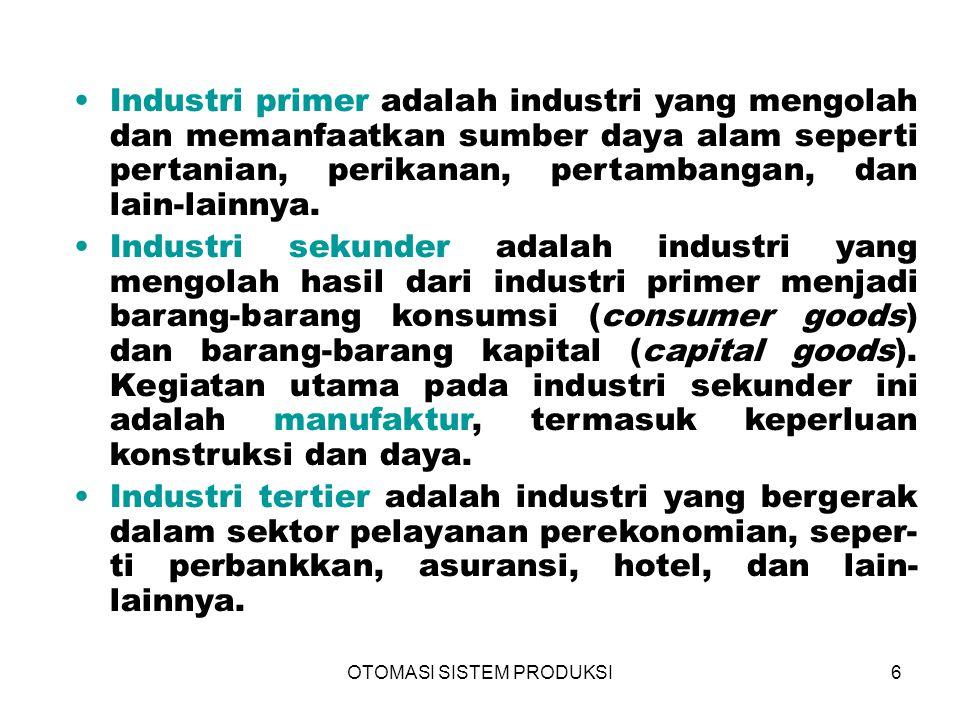 OTOMASI SISTEM PRODUKSI6 Industri primer adalah industri yang mengolah dan memanfaatkan sumber daya alam seperti pertanian, perikanan, pertambangan, d