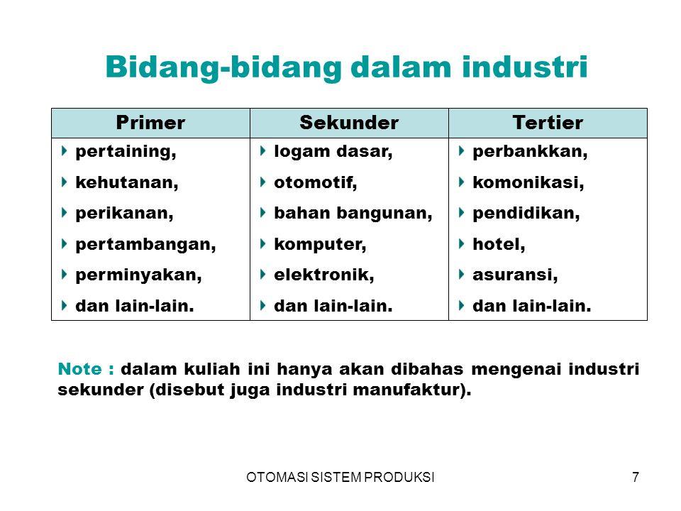OTOMASI SISTEM PRODUKSI7 Bidang-bidang dalam industri PrimerSekunderTertier pertaining, kehutanan, perikanan, pertambangan, perminyakan, dan lain-lain