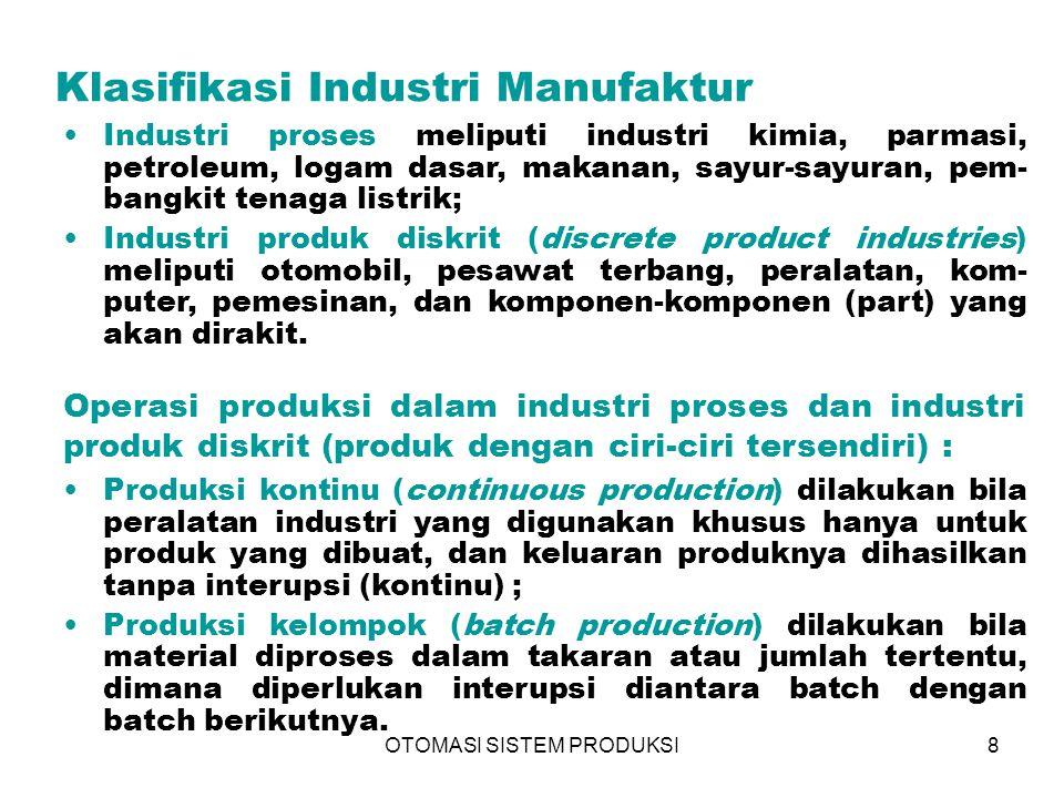 OTOMASI SISTEM PRODUKSI8 Klasifikasi Industri Manufaktur Industri proses meliputi industri kimia, parmasi, petroleum, logam dasar, makanan, sayur-sayu