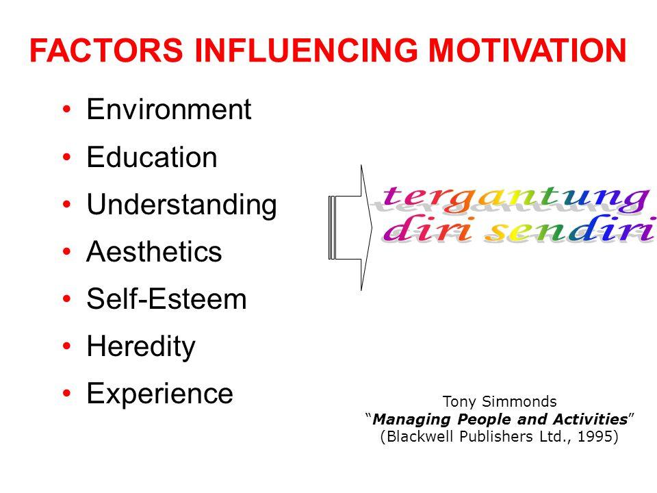 "FACTORS INFLUENCING MOTIVATION Environment Education Understanding Aesthetics Self-Esteem Heredity Experience Tony Simmonds ""Managing People and Activ"