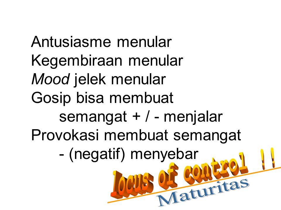 Antusiasme menular Kegembiraan menular Mood jelek menular Gosip bisa membuat semangat + / - menjalar Provokasi membuat semangat - (negatif) menyebar