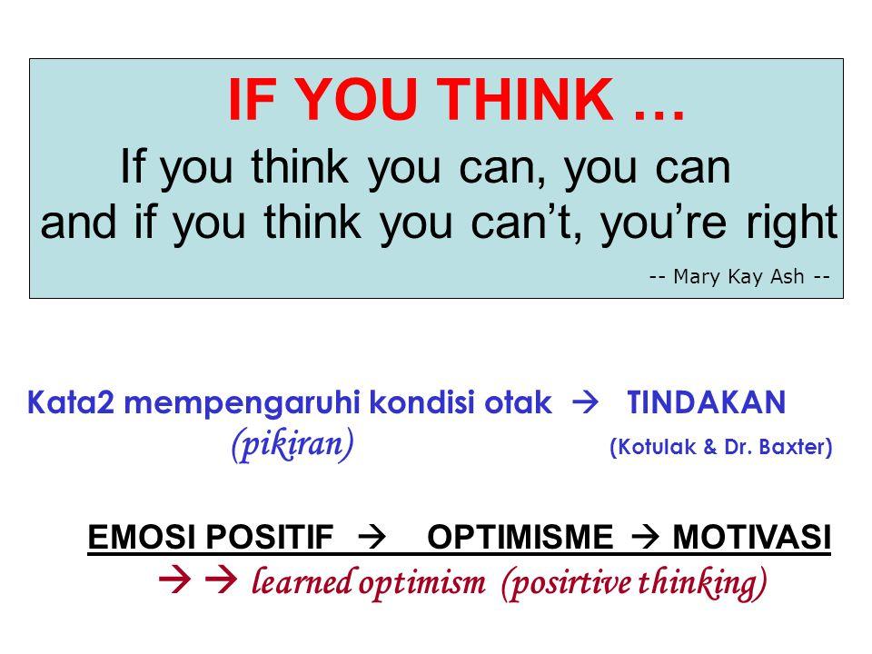 Kata2 mempengaruhi kondisi otak  TINDAKAN (pikiran) (Kotulak & Dr. Baxter) EMOSI POSITIF  OPTIMISME  MOTIVASI   learned optimism (posirtive think