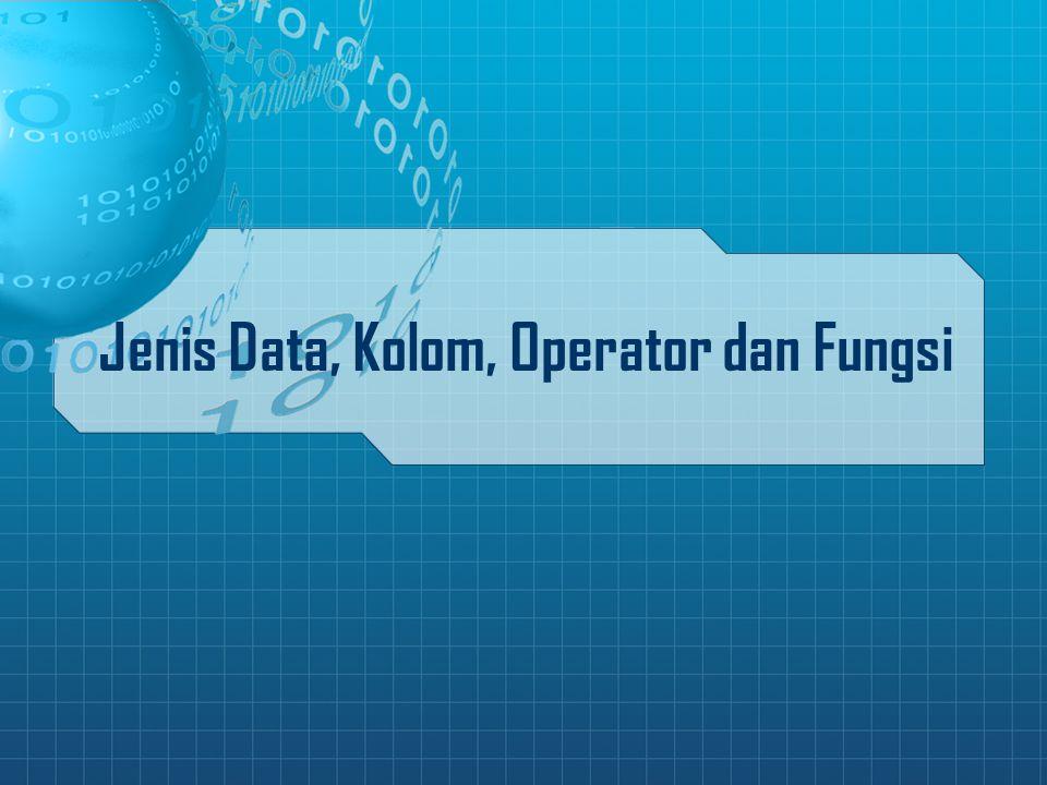 Jenis Data, Kolom, Operator dan Fungsi