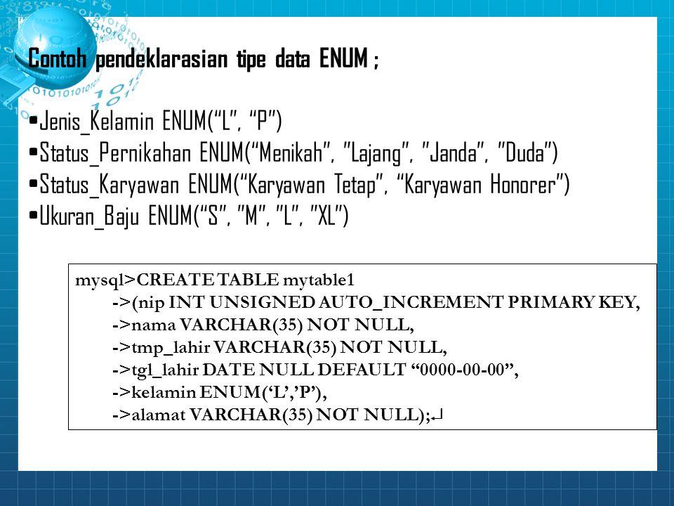 """Contoh pendeklarasian tipe data ENUM ; Jenis_Kelamin ENUM(""""L"""", """"P"""") Status_Pernikahan ENUM(""""Menikah"""", """"Lajang"""", """"Janda"""", """"Duda"""") Status_Karyawan ENUM("""