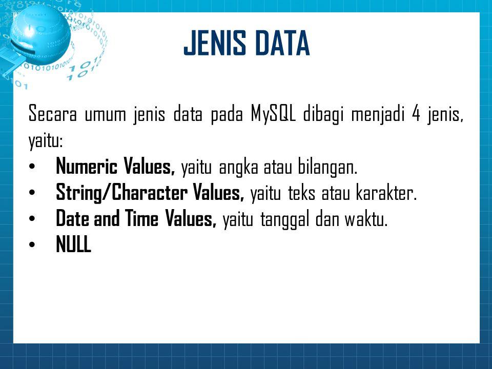 JENIS DATA Secara umum jenis data pada MySQL dibagi menjadi 4 jenis, yaitu: Numeric Values, yaitu angka atau bilangan. String/Character Values, yaitu
