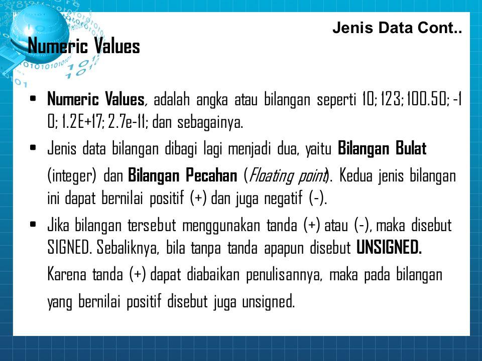 Numeric Values Numeric Values, adalah angka atau bilangan seperti 10; 123; 100.50; ‑ 1 0; 1.2E+17; 2.7e ‑ 11; dan sebagainya. Jenis data bilangan diba