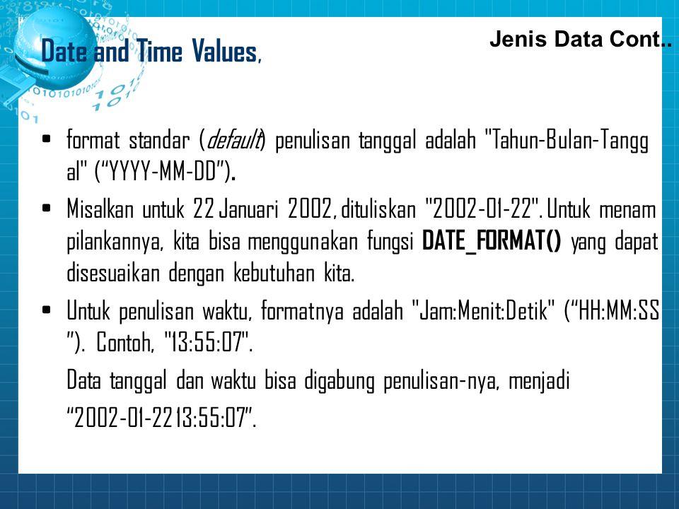 Date and Time Values, format standar (default) penulisan tanggal adalah