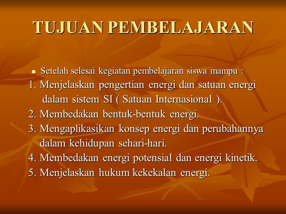 PROSES KEGIATAN PEMBELAJARAN Pengertian Energi Energi adalah kemampuan untuk melakukan usaha.