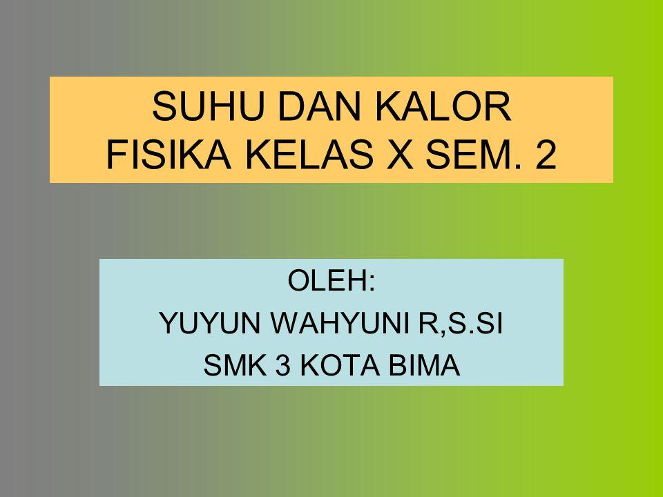 SUHU DAN KALOR FISIKA KELAS X SEM. 2 OLEH: YUYUN WAHYUNI R,S.SI SMK 3 KOTA BIMA