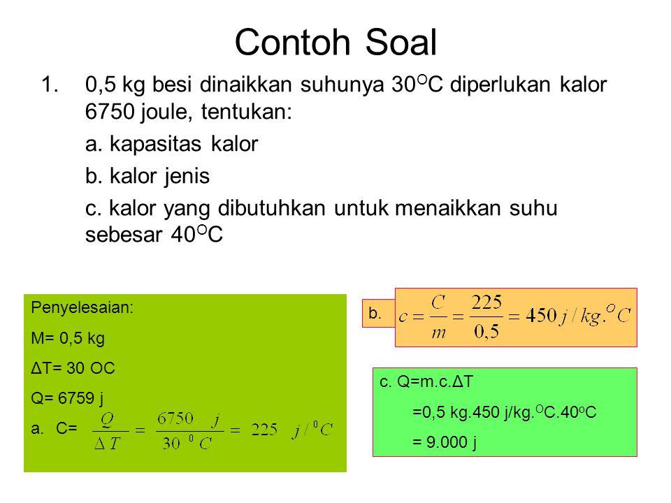Contoh Soal 1.0,5 kg besi dinaikkan suhunya 30 O C diperlukan kalor 6750 joule, tentukan: a. kapasitas kalor b. kalor jenis c. kalor yang dibutuhkan u