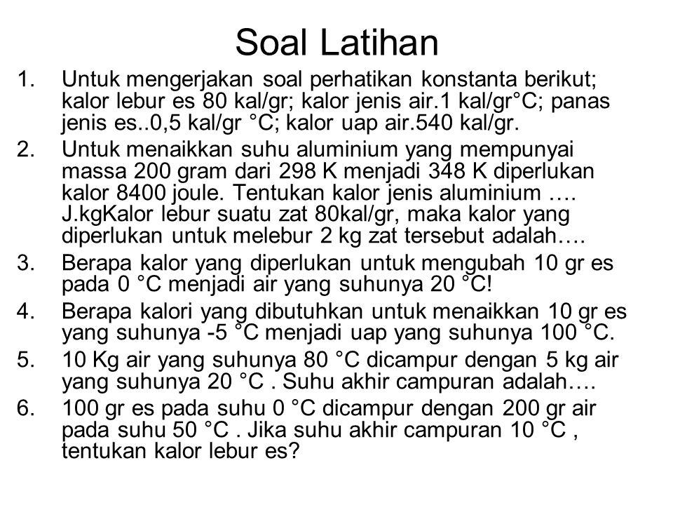 Soal Latihan 1.Untuk mengerjakan soal perhatikan konstanta berikut; kalor lebur es 80 kal/gr; kalor jenis air.1 kal/gr°C; panas jenis es..0,5 kal/gr °C; kalor uap air.540 kal/gr.