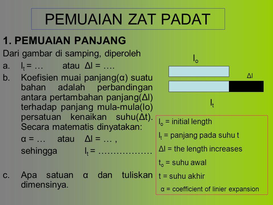 PEMUAIAN ZAT PADAT 1.PEMUAIAN PANJANG Dari gambar di samping, diperoleh a.l t = … atauΔl = ….