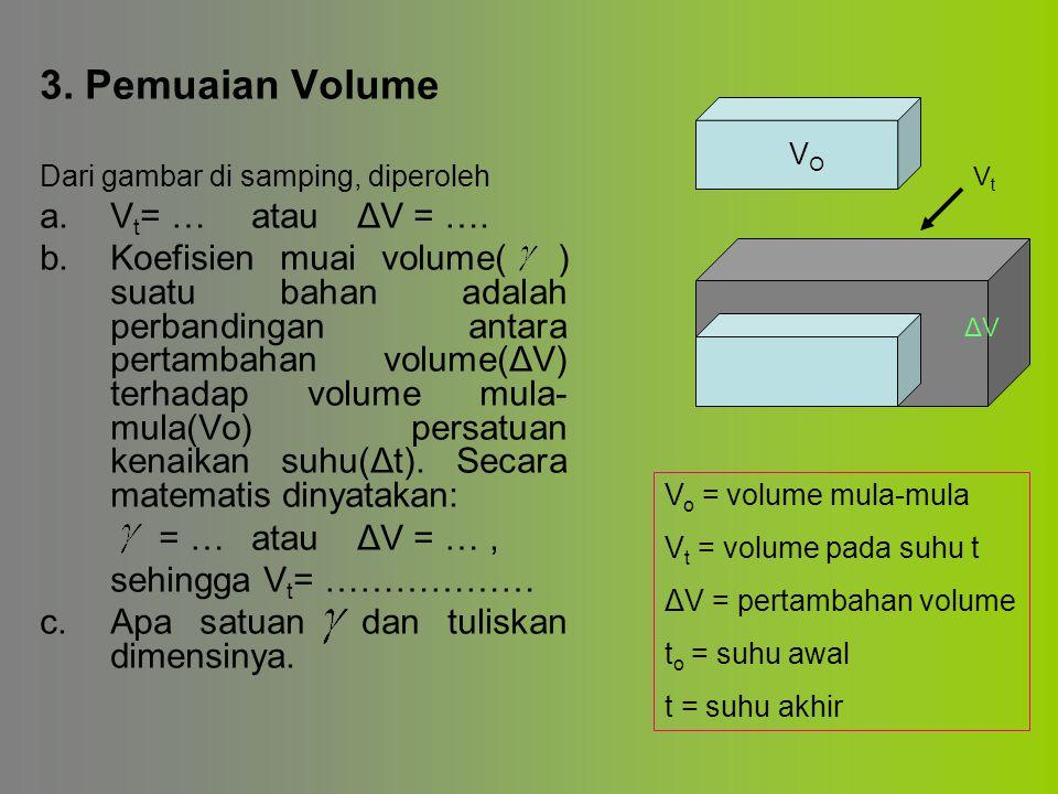 3. Pemuaian Volume Dari gambar di samping, diperoleh a. V t = …atauΔV = …. b. Koefisien muai volume( ) suatu bahan adalah perbandingan antara pertamba