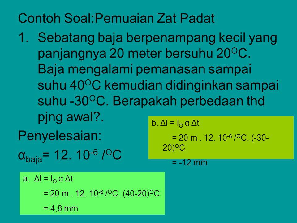 Contoh Soal:Pemuaian Zat Padat 1.Sebatang baja berpenampang kecil yang panjangnya 20 meter bersuhu 20 O C. Baja mengalami pemanasan sampai suhu 40 O C
