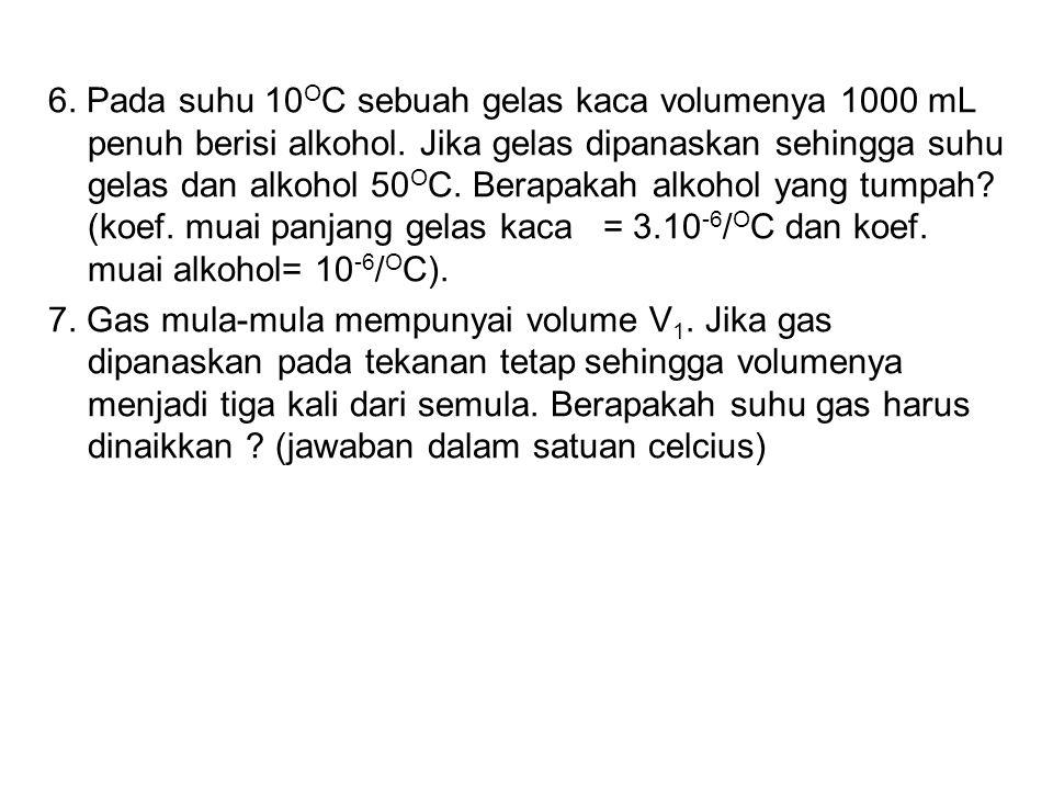 6. Pada suhu 10 O C sebuah gelas kaca volumenya 1000 mL penuh berisi alkohol. Jika gelas dipanaskan sehingga suhu gelas dan alkohol 50 O C. Berapakah