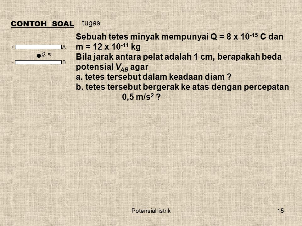 Potensial listrik15 CONTOH SOAL Sebuah tetes minyak mempunyai Q = 8 x 10 -15 C dan m = 12 x 10 -11 kg Bila jarak antara pelat adalah 1 cm, berapakah b