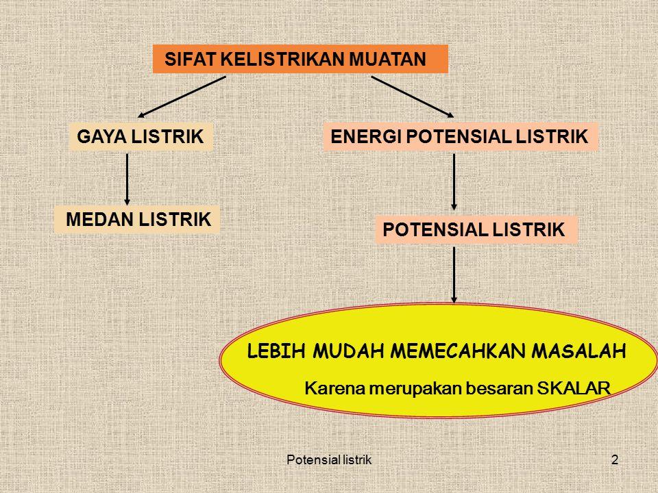 2 SIFAT KELISTRIKAN MUATAN GAYA LISTRIK MEDAN LISTRIK ENERGI POTENSIAL LISTRIK POTENSIAL LISTRIK LEBIH MUDAH MEMECAHKAN MASALAH Karena merupakan besar