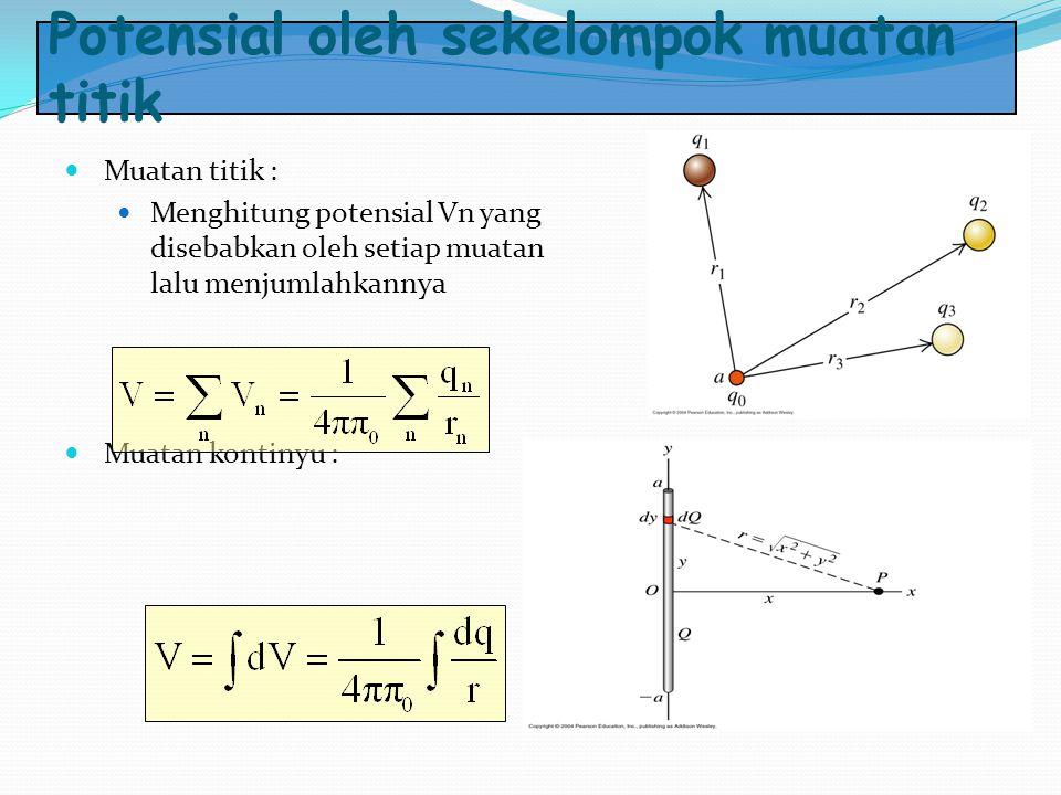 Potensial oleh sekelompok muatan titik Muatan titik : Menghitung potensial Vn yang disebabkan oleh setiap muatan lalu menjumlahkannya Muatan kontinyu