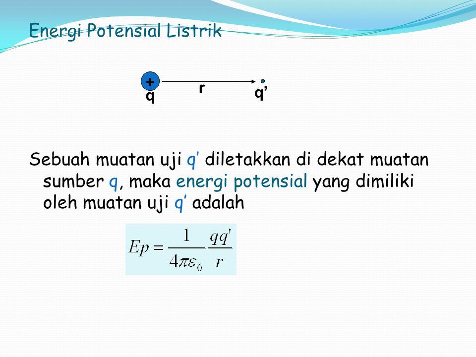 Energi Potensial Listrik Sebuah muatan uji q' diletakkan di dekat muatan sumber q, maka energi potensial yang dimiliki oleh muatan uji q' adalah + r q