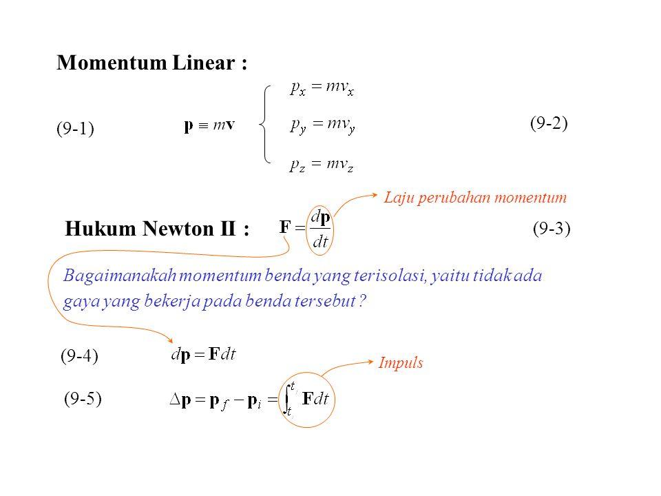 (9-1) (9-2) Hukum Newton II : (9-3) Laju perubahan momentum Bagaimanakah momentum benda yang terisolasi, yaitu tidak ada gaya yang bekerja pada benda