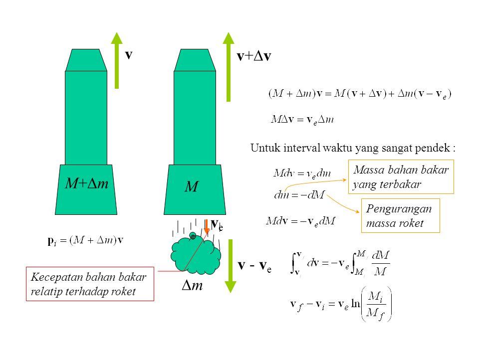 v M+mM+m M v+vv+v mm veve Kecepatan bahan bakar relatip terhadap roket v - v e Untuk interval waktu yang sangat pendek : Massa bahan bakar yang
