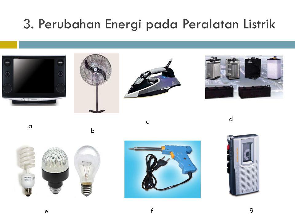 3. Perubahan Energi pada Peralatan Listrik a b c d ef g