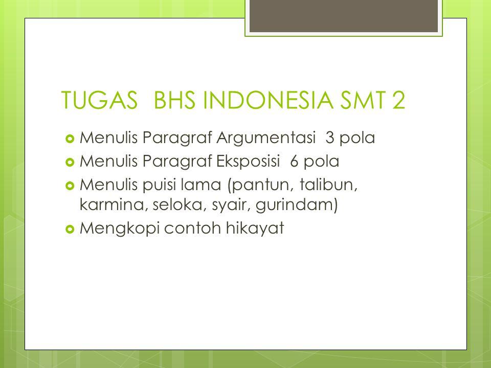 TUGAS BHS INDONESIA SMT 2  Menulis Paragraf Argumentasi 3 pola  Menulis Paragraf Eksposisi 6 pola  Menulis puisi lama (pantun, talibun, karmina, se