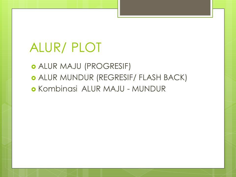 ALUR/ PLOT  ALUR MAJU (PROGRESIF)  ALUR MUNDUR (REGRESIF/ FLASH BACK)  Kombinasi ALUR MAJU - MUNDUR